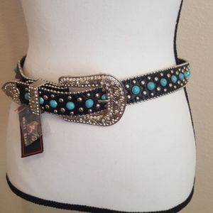 "Girl L Turquoise Black Leather Western Belt 28"""